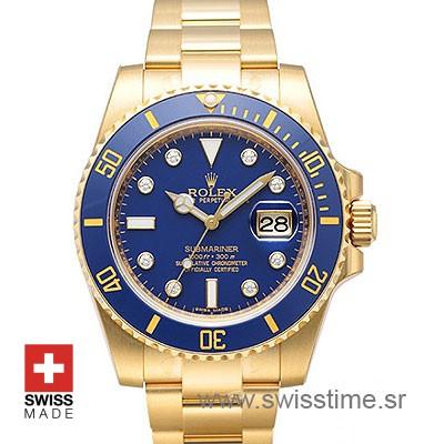 Rolex Submariner Yellow Gold Blue Diamonds Dial | Swisstime
