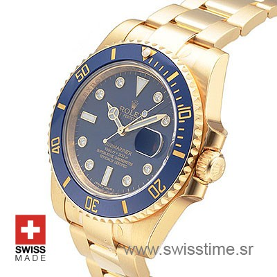 ROLEX SUBMARINER GOLD BLUE DIAMONDS CERAMIC 40mm OVERSIZED 116618