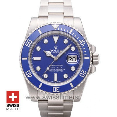 Rolex Submariner White Gold Blue Diamond Dial | Swisstime