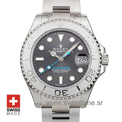 Buy Now Rolex Yacht-Master Rolesium Dark Rhodium Dial Replica Watch Features 904L Steel & Platinum Oyster Bracelet with Folding Lock & Ceramic Bezel