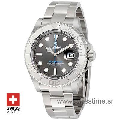 Buy Now Rolex Yacht-Master Rolesium Dark Rhodium Dial Replica Watch Features 904L Steel & Platinum Oyster Bracelet with Folding Lock & Ceramic Bezel