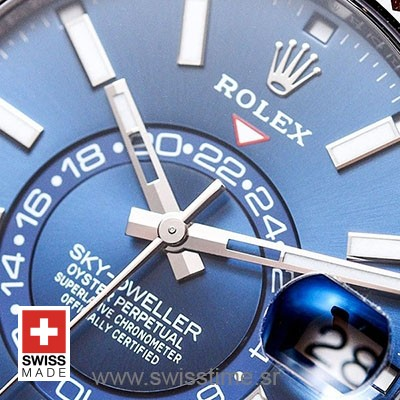 Rolex Sky-Dweller 2 Tone 18K White Gold Blue Dial Stick Markers 42mm