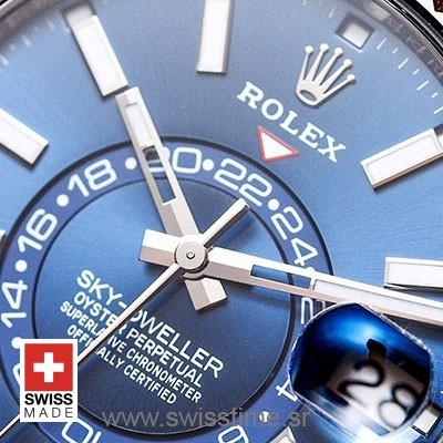 Rolex Sky-Dweller 2 Tone 18K White Gold Blue Dial Stick Markers 42mm