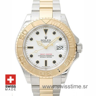 Rolex Yacht Master Two Tone White Dial | Swiss Replica Watch