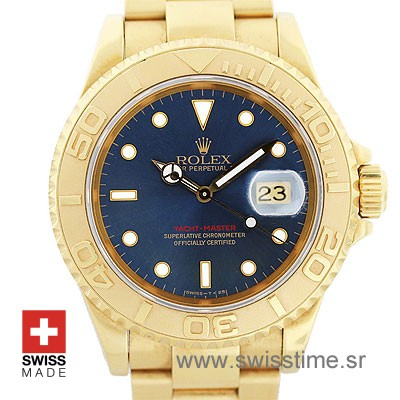 Rolex Yacht Master Gold Blue Dial | Luxury Swiss Replica Watch