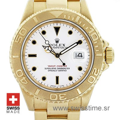 Rolex Yacht Master White Dial Yellow Gold Swiss Replica Watch