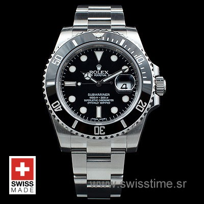 Rolex Oyster Perpetual Date Submariner Black Swisstime Watch