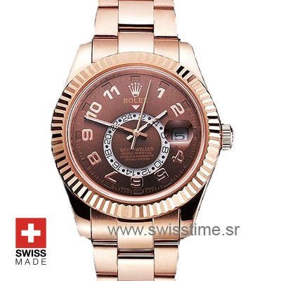 Rolex Sky-Dweller 18K Rose Gold Chocolate Dial Arabic Markers 42mm