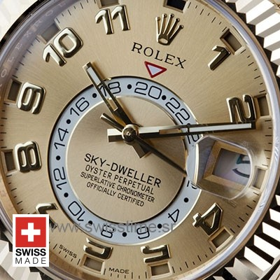 Rolex Sky-Dweller 2-Tone 18K Yellow Gold Gold Dial Arabic Markers 42mm