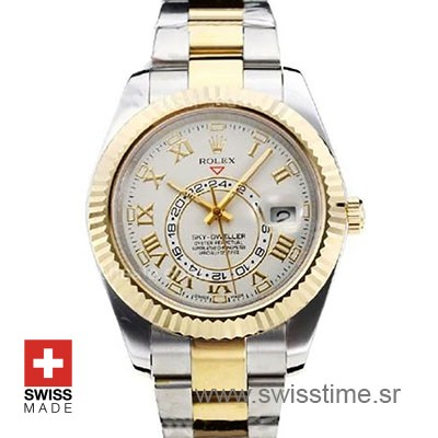 Rolex Sky-Dweller 2-Tone 18K Yellow Gold White Dial Roman Markers 42mm