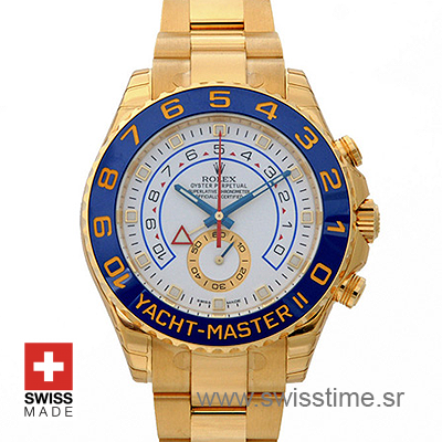 Rolex Yacht-Master 2 White Dial | 18k Gold Replica Watch