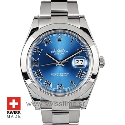 Rolex Datejust II Blue Dial Roman Markers 40mm Replica Watch