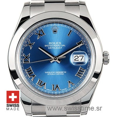 Rolex Datejust II Blue Dial Roman Markers 40mm Replica Watch