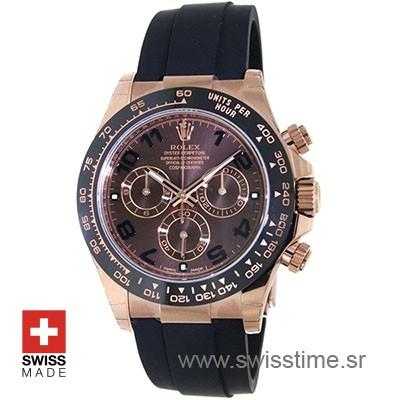Rolex 2017 Daytona 18k Rose Gold Ceramic Bezel Chocolate Dial Rubber Band 40mm Swiss Replica watch