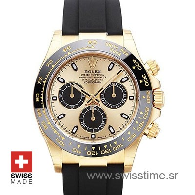 Rolex Daytona Yellow Gold Oysterflex | Swisstime Replica Watch