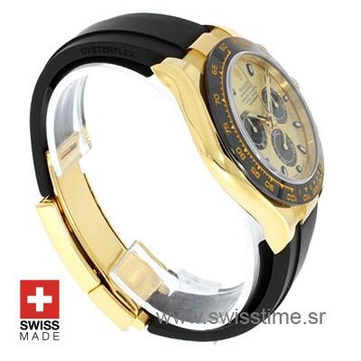 Rolex Daytona 18k Yellow Gold Ceramic Bezel Gold Dial Rubber Band 40mm Swiss Replica watch