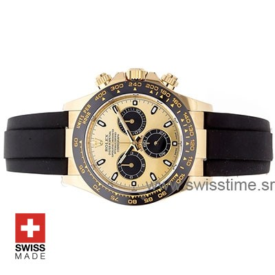 Rolex Daytona 18k Yellow Gold Ceramic Bezel Gold Dial Rubber Band 40mm Swiss Replica watch