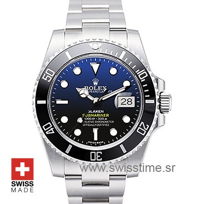 Rolex Submariner Blaken D-Blue Dial Steel Black Ceramic Bezel 40mm